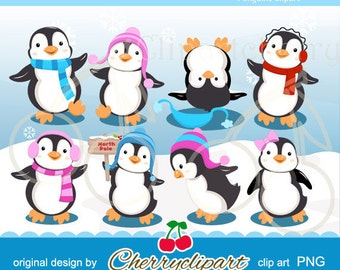Cute Playful Penguins digital clipart for-Personal and Commercial Use-paper crafts,card making,scrapbooking,and web design
