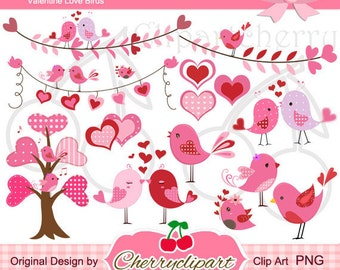 Valentine Love Birds Digital Clipart Set for-Personal and Commercial Use-paper crafts,card making,scrapbooking,and web design