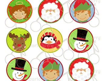 """Christmas Icons Face-1 Inch Circles Digital Collage Sheet-15 Images- 4""""x6"""" Sheet"""