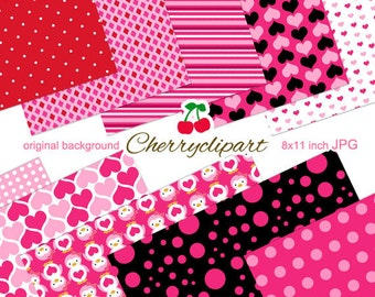 Valentine Pink Cute Penguins digital papers for Card Design, Scrapbooking, and Web Design