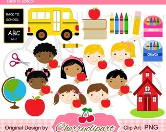 Back to School Digital Clipart -Personal and Commercial Use-for paper crafts,card making,scrapbooking,embroidery design