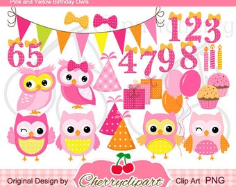 Pink and Yellow Birthday Owls Digital Clipart Set for-Personal and Commercial Use- for Card Design, Scrapbooking, and Web Design
