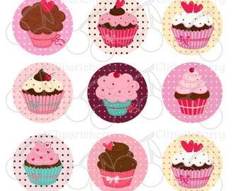 "Sweet Cupcakes 1 Inch Digital Circles Design 4x6-15 Images- 4""x6"" Sheet"