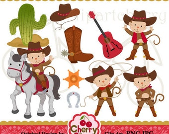 Cowboy Monkey Digital Clipart Set for-Personal and Commercial Use- for Card Design, Scrapbooking, and Web Design