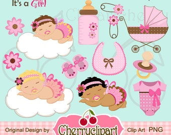 Its a Girl Baby Icon Digital Clipart Set -Personal and Commercial Use-paper crafts,card making,scrapbooking,web design