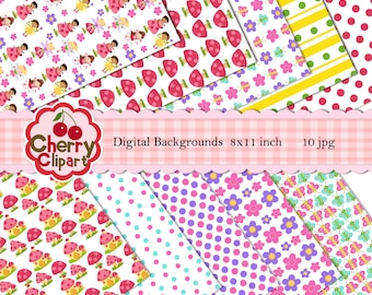 Spring Time Digital Backgrounds for Card Design, Scrapbooking, Web Design,and birthday party invitations