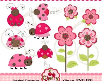 Pink and brown ladybugs flowers digital clipart set for-Personal and Commercial Use-paper crafts,card making,scrapbooking,web design