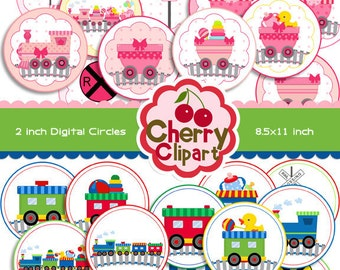 Baby Choo Choo Trains and Toys 2 and 3 inch Circles Round Digital Graphics