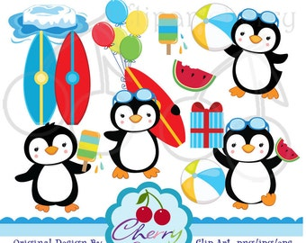 Summer Party Boy Penguin Digital Clipart Set for -Personal and Commercial Use-paper crafts,card making,scrapbooking,web design