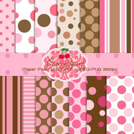 Chic  Polka Dot  designer paper pack for scrapbooking, invites, tags, cards, paper craft, stationary, photo cards