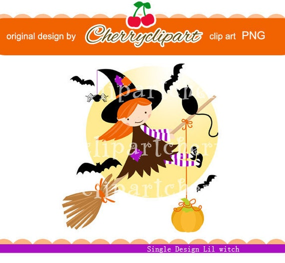 Halloween Cute Lil Witch digital clip art for -Personal and Commercial Use - paper crafts, card making, scrapbooking