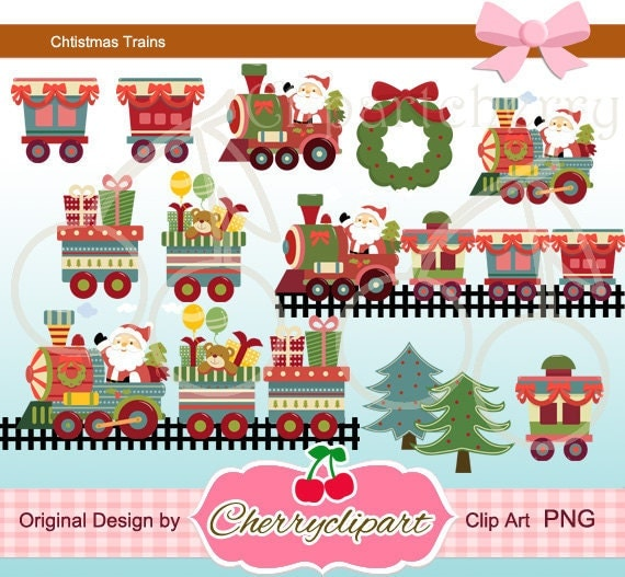 Santa Claus and Christmas Train  Digital Clipart Set for-Personal and Commercial Use-paper crafts,card making,scrapbooking
