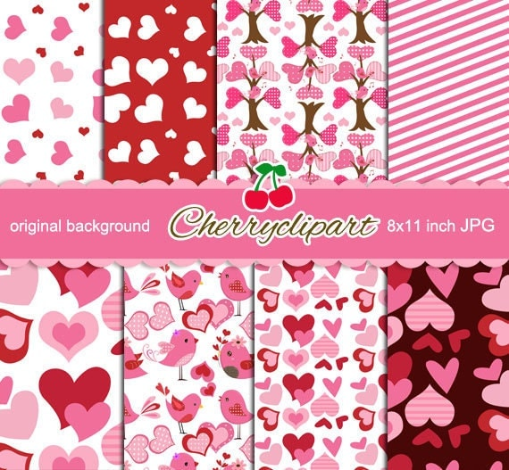 Valentine Love Birds Digital Papers for Card Design, Scrapbooking, and Web Design