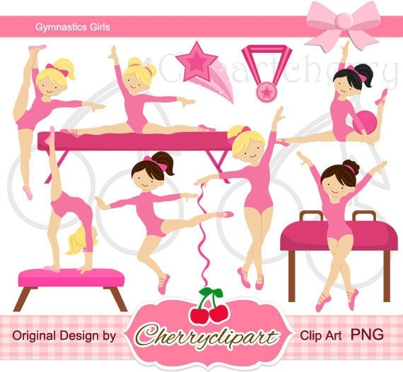 Pink Gymnastics Girls Digital Clipart Set For-Personal And