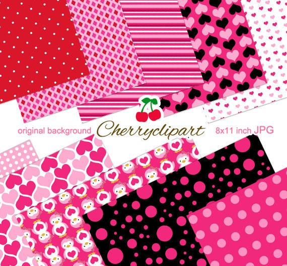 Valentine pink cute penguins digital papers for card design for Cute designs for paper
