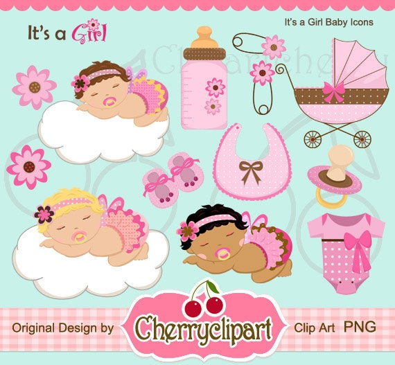 Its a Girl Baby Icon Digital Clipart Set Personal and