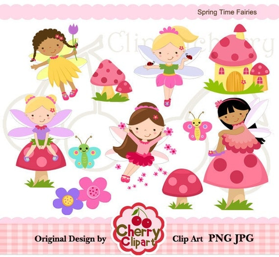 Spring Time Fairies digital clipart set for -Personal and Commercial Use-paper crafts,card making,scrapbooking,web design