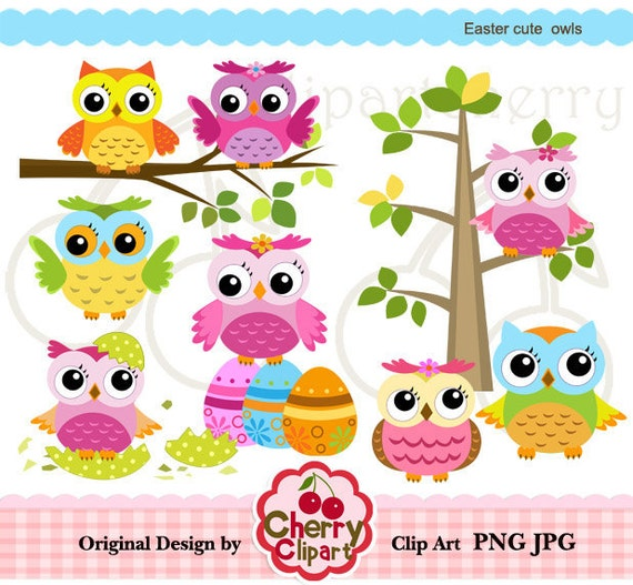 Easter Cute Owls Digital Clipart Set for-Personal and Commercial Use-Card Design, Scrapbooking, and Web Design