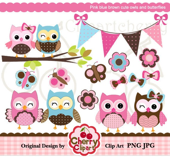 Pink blue brown cute owls and butterflies digital clipart set for-Personal and Commercial Use-Card Design, Scrapbooking, and Web Design
