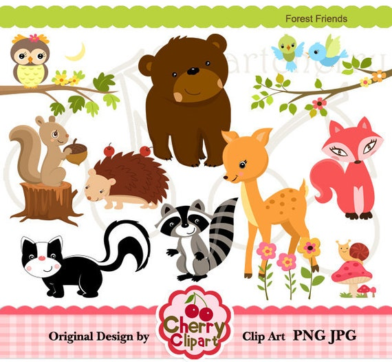 Forest Friends digital clipart set for-Personal and Commercial Use-paper crafts,card making,scrapbooking,web design