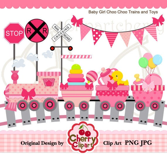 Baby Girl Choo Choo Trains and Toys Didital Clipart Set for-Personal and Commercial Use-Card Design, Scrapbooking, and Web Design