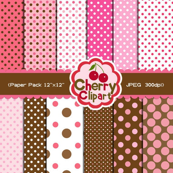 Pink and Brown Polka Dots Papers Pack for scrapbooking, invites, tags, cards, paper craft, stationary, photo cards
