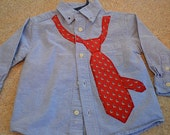 18-24 mos The Childrens Place Light blue Blue button up shirt with red tie applique with navy and white sail boats