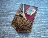 "Rare soviet worker patriotic pin badge ""Drummer of the communistic work"" USSR veteran of labor - 100 % original"