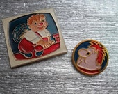 2 rare soviet pin badge Carlson  a character of children Lingrendt fairy tale cartoon. Made in the USSR.