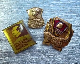 3 rare soviet pin badge with Lenin USSR komsomol sign communist party propaganda - 100 % original