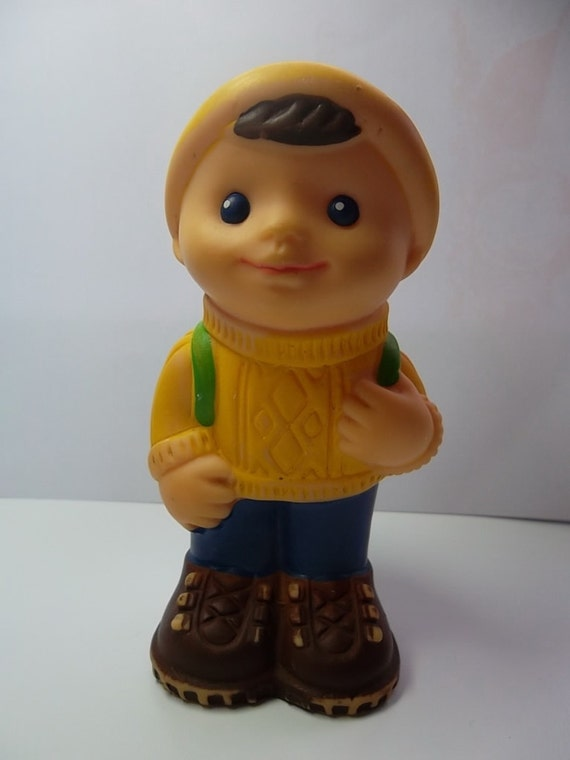 """Vintage rubber toy  """"Tourist boy"""", a character  children's cartoon. Made in the USSR."""