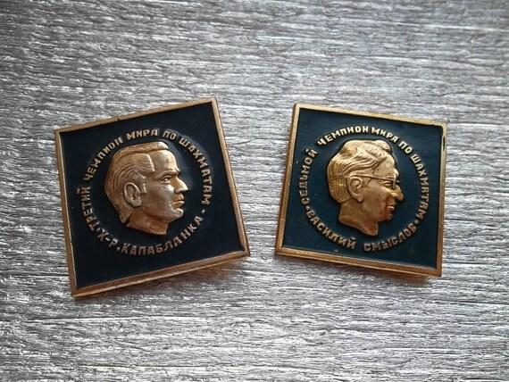 "2 very Rare soviet pin badge icon ""Chess masters champions Capablanca Smyslov"" sport  - 100 % original"