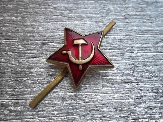"""soviet army military cap badge cockade sign """"Red star with hammer and sickle""""red army uniforme sign- 100 % original"""