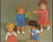 """No.18 PDF Vintage Knitting Pattern For 10"""", 12"""", 14"""", 16"""" Dolls - Short & Long Sleeved Sweaters, Cardigan, Pleated Skirt - Instant Download"""