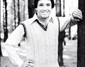 """No.45 PDF Vintage Knitting Pattern For Men - Cabled Vest - Retro Knitting Pattern - Instant Download - Chest Sizes 36"""", 38"""", 40"""", 42"""""""