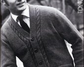 """No.90 PDF Vintage Knitting Pattern Men's Cabled V-Neck Cardigan Sweater - Retro Knitting Pattern - Instant Download - Chest Sizes 38"""" - 46"""""""