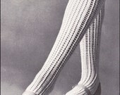 """No.194 PDF Vintage Knitting Pattern Women's Thigh High Lace Stockings - Foot Sizes 8"""" - 11"""" - Instant Download"""