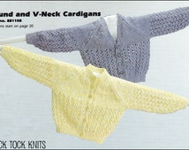 No.77 PDF Vintage Knitting Pattern Baby's/Child's Round & V-Neck Cardigans - Newborn, 6 mos, 1 year, 18 mos, 2 years - Instant Download