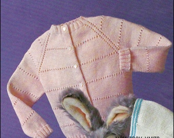 No.61 Knitting Pattern PDF Vintage For Baby's/Child's Raglan Cardigan, Knit Top-Down, Sizes 6 Months, 1, 2, 3 Years - Instant Download