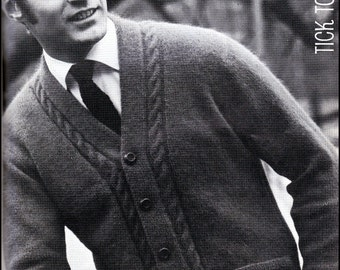 "No.90 PDF Vintage Knitting Pattern Men's Cabled V-Neck Cardigan Sweater - Retro Knitting Pattern - Instant Download - Chest Sizes 38"" - 46"""