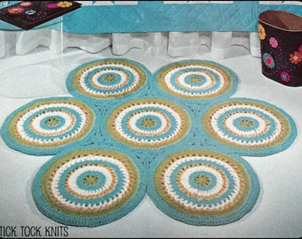 No.115 Crochet Pattern PDF Vintage - Rug Of Circles - Retro Crochet Pattern - Bedroom or Living Room - Instant Download
