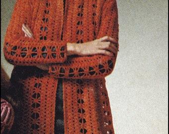No.141 PDF Vintage Crochet Pattern - Instant Download - Women's Elegant Crocheted Jacket - Knee Length Openwork Design