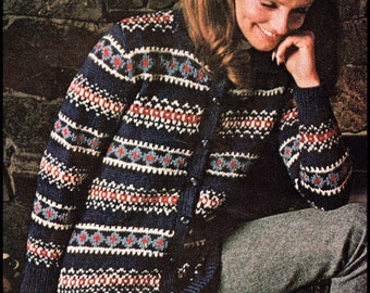 "No.221 Vintage Knitting Pattern PDF For Women - Nordic Pattern Cardigan - Fair Isle Sweater Instant Download 32.5"", 34"", 36"", 38"", 40"", 42"""