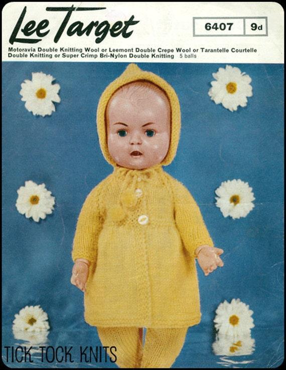 "No.4 PDF Vintage Knitting Pattern For 16"" Dolls - Coat, Hood, Leggings in DK Weight Yarn - Lee Target 6407 - Instant Download"