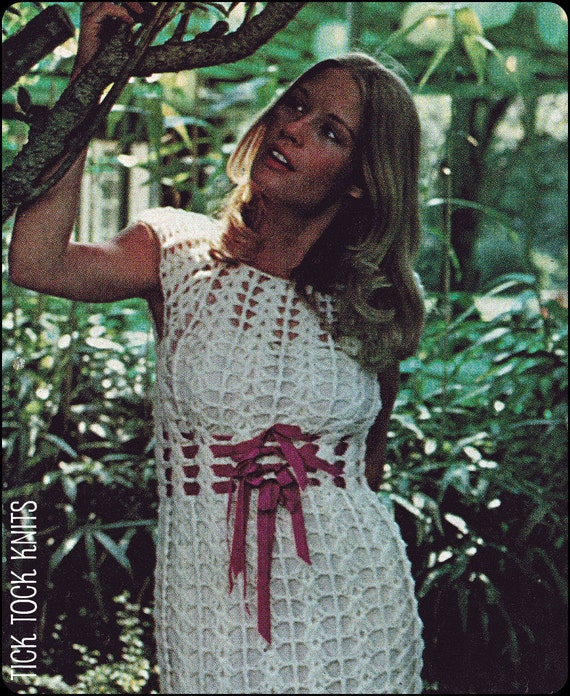 No.137 PDF Vintage Crochet Pattern Women's Shell Stitch Evening Dress - Ribbons At Waistline - Petite, Small & Medium - Instant Download