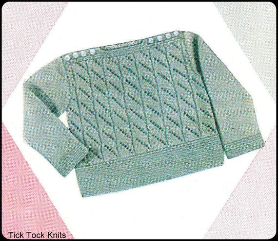 No.162 PDF Vintage Knitting Pattern Baby's Mabel Lace Pullover Sweater w/ Shoulder Buttons - Sizes 6 Months, 1 year - Instant Download