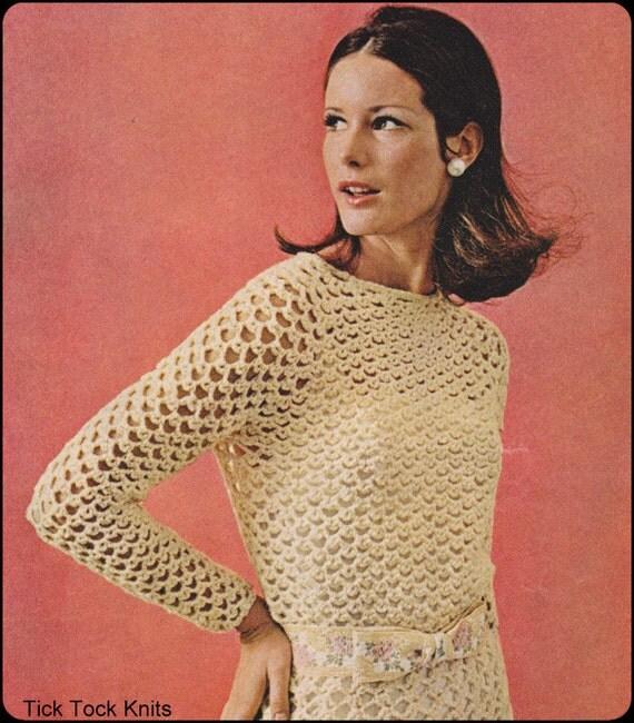 No.223 PDF Crochet Pattern Vintage - Women's Crocheted Party Dress - Instant Download