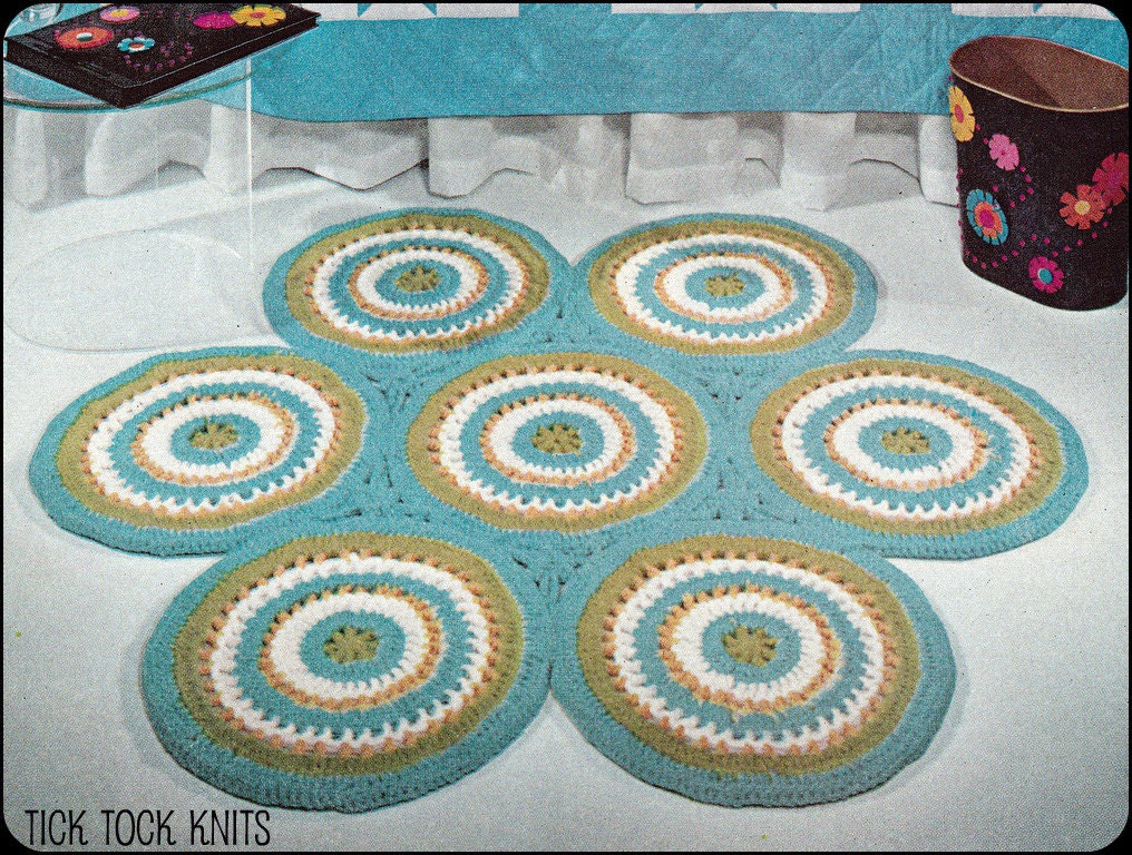 Crochet pattern pdf vintage rug of circles retro for Vintage tapete