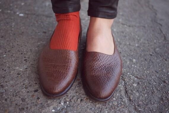 GIORGIO ARMANI Vintage handmade brown reptile leather flat shoes, size 39