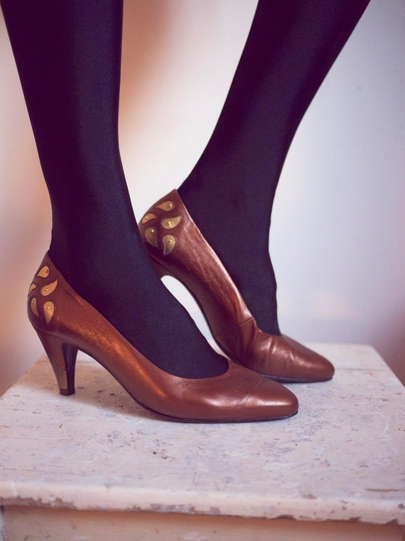 Vintage Copper Leather Shoes With Amazing Heel